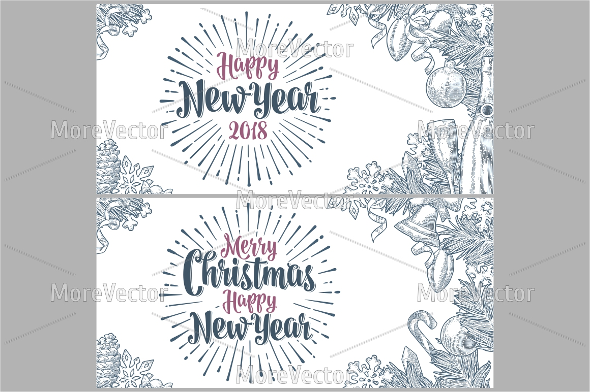 Merry Christmas Happy New Year poster example image 1