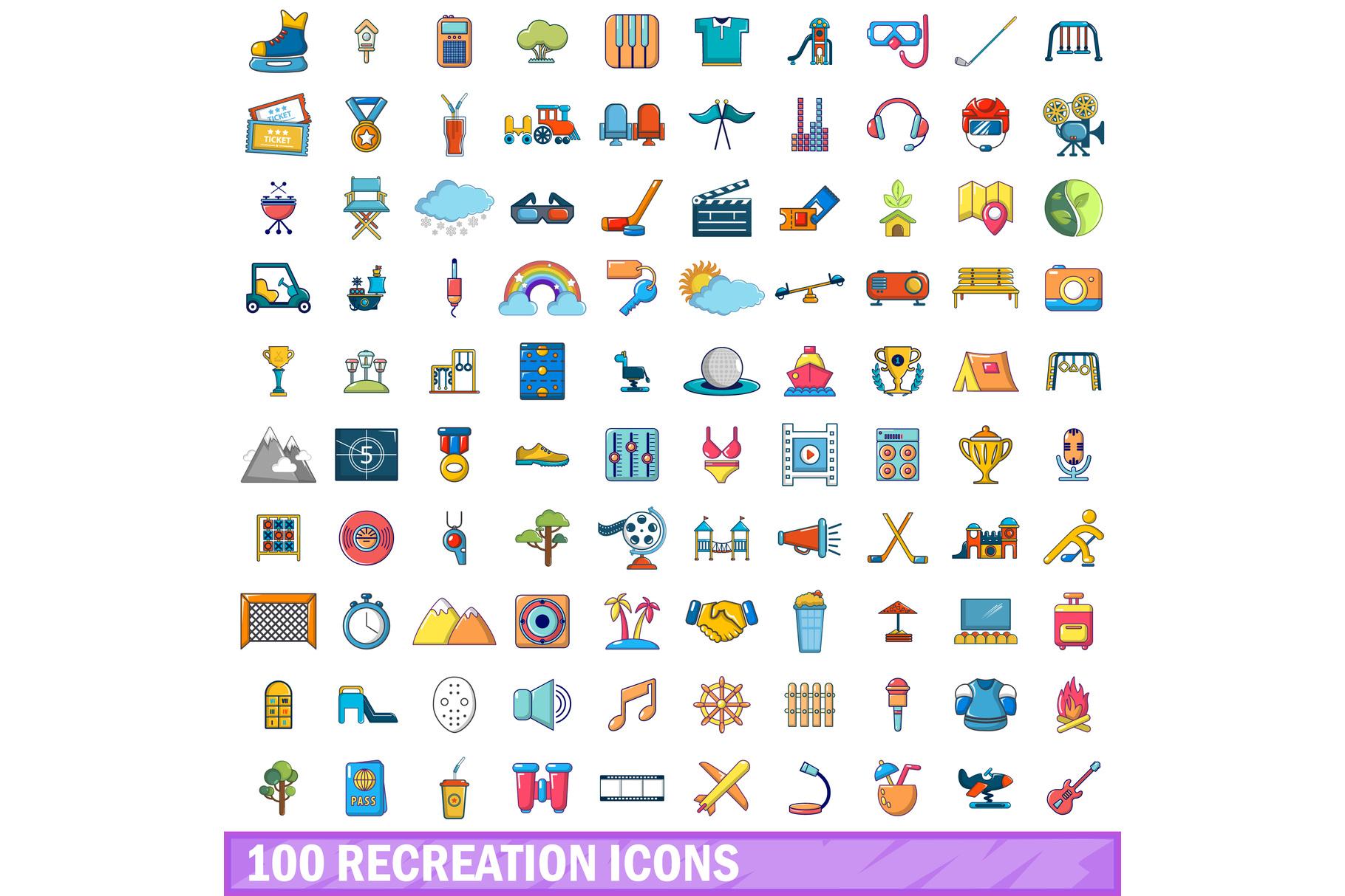 100 recreation icons set, cartoon style example image 1