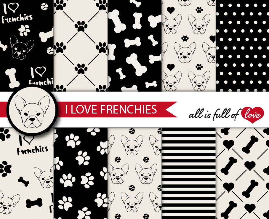 I Love Frenchies Digital Paper French Bulldog Background Patterns in Black and Cream example image 1