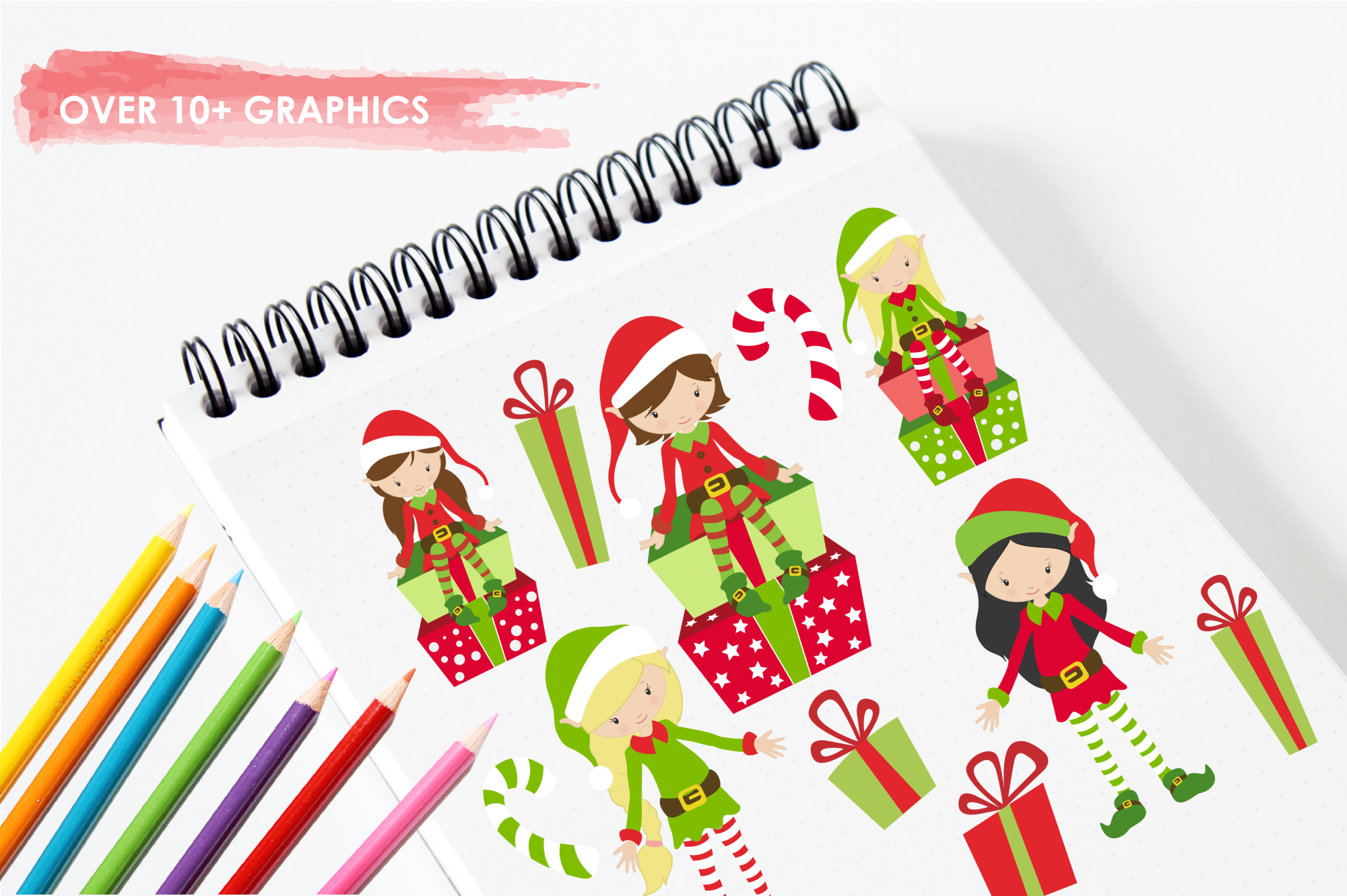 Elves and Gifts graphics and illustrations example image 3