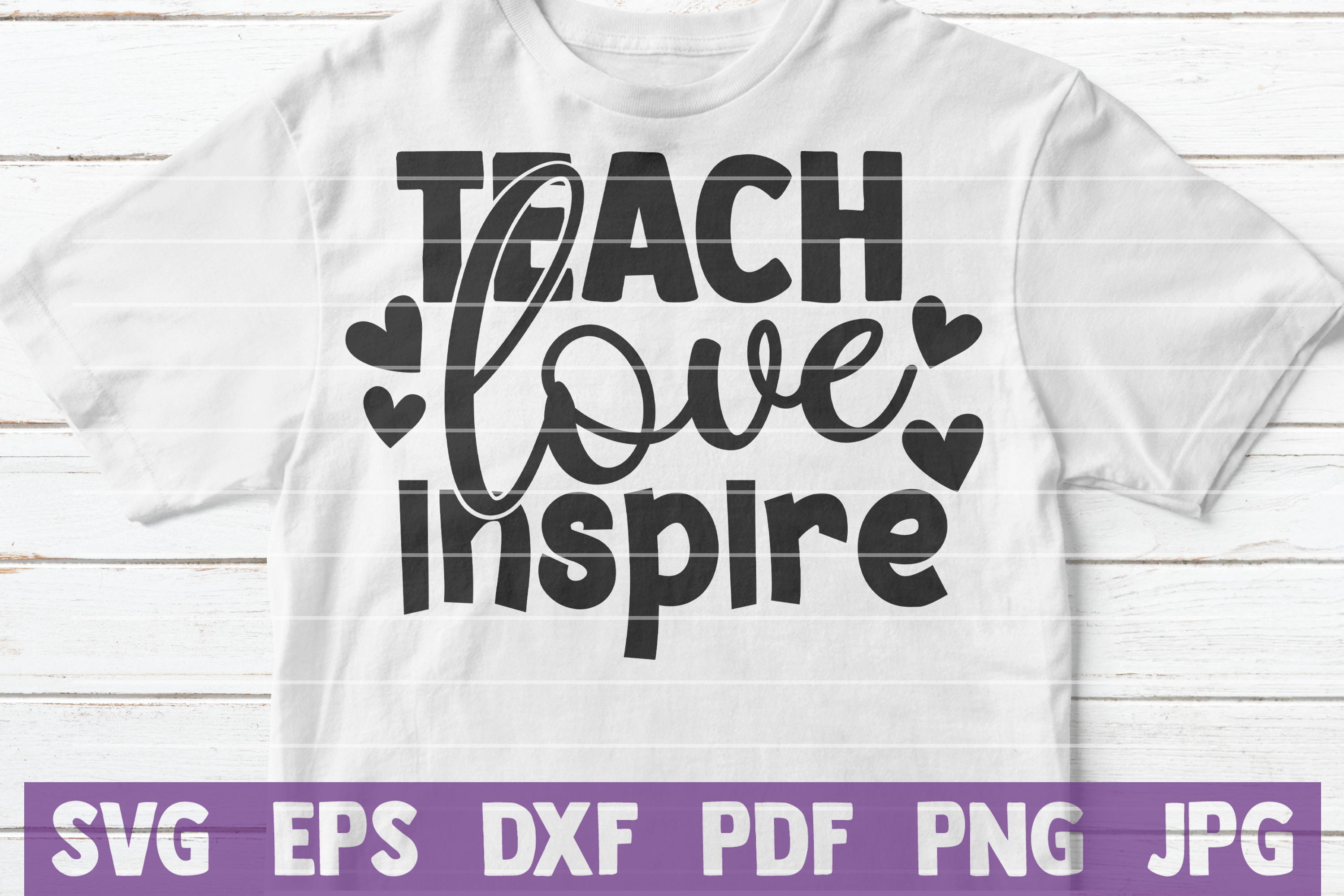 Teach Love Inspire SVG Cut File | commercial use example image 2