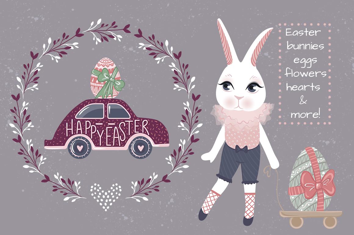 Happy Easter. Bunnies, eggs, flowers example image 3