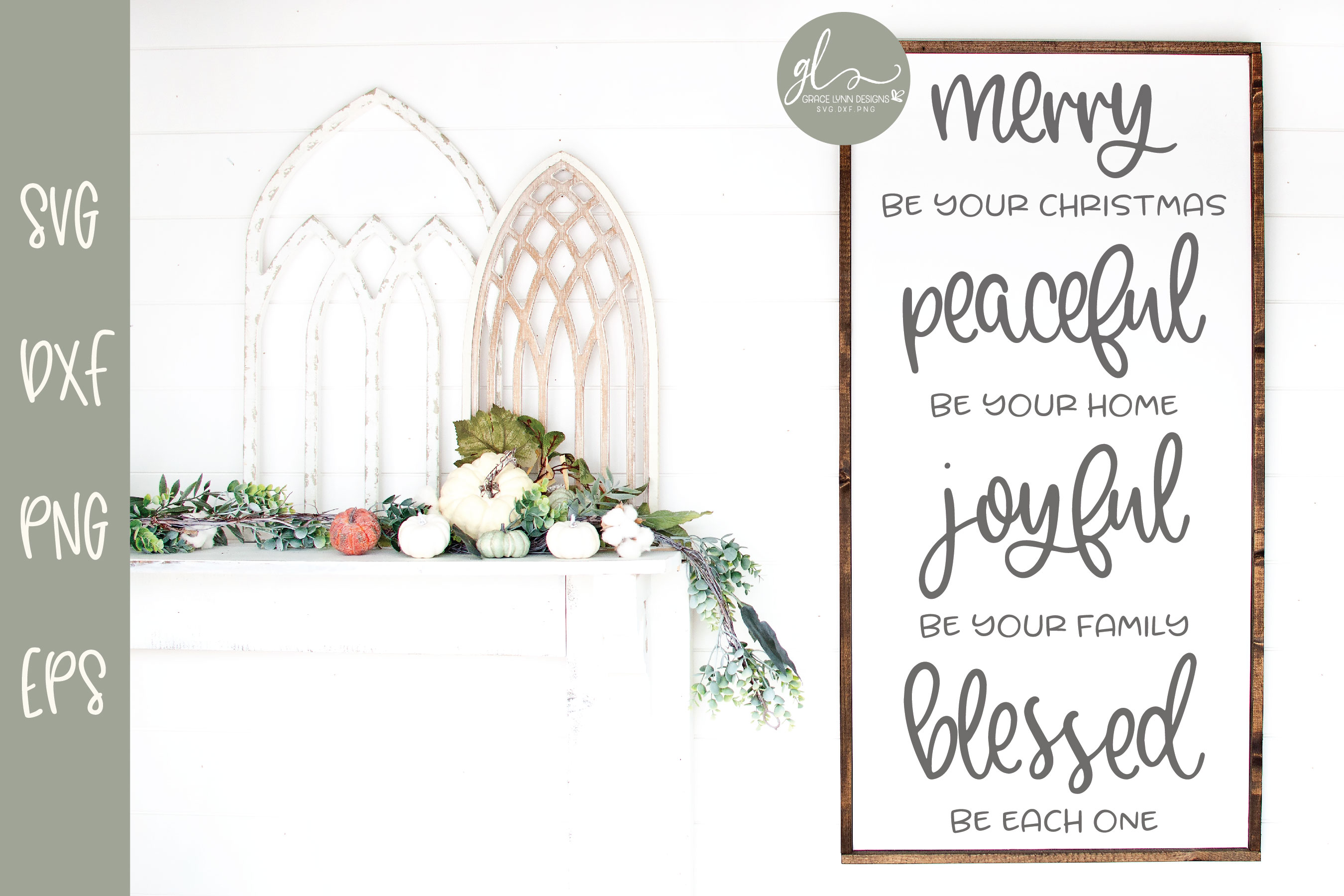 Merry Be Your Christmas Peaceful Be Your Home - SVG example image 1