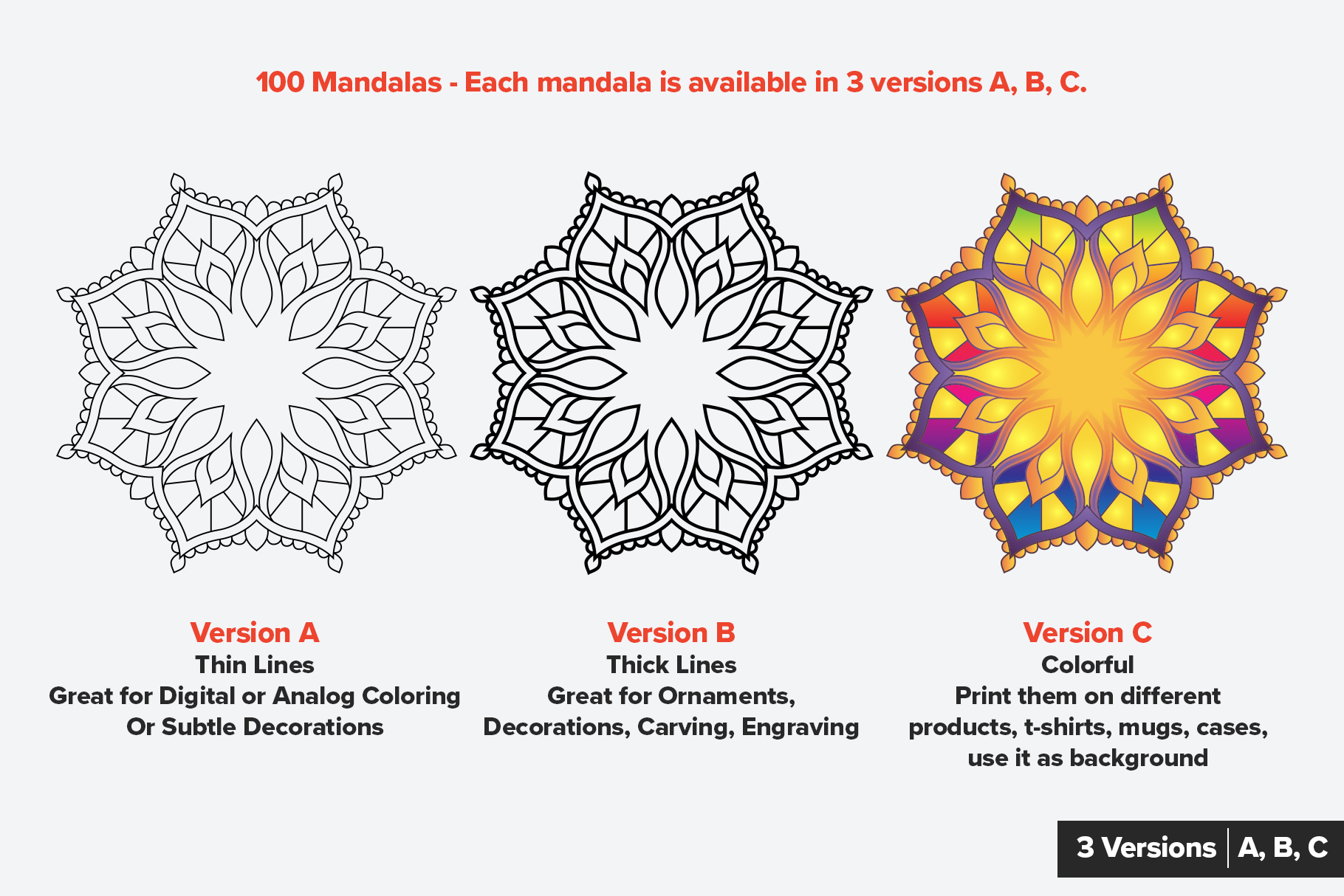 Mandala Vector Ornaments Bundle example image 2