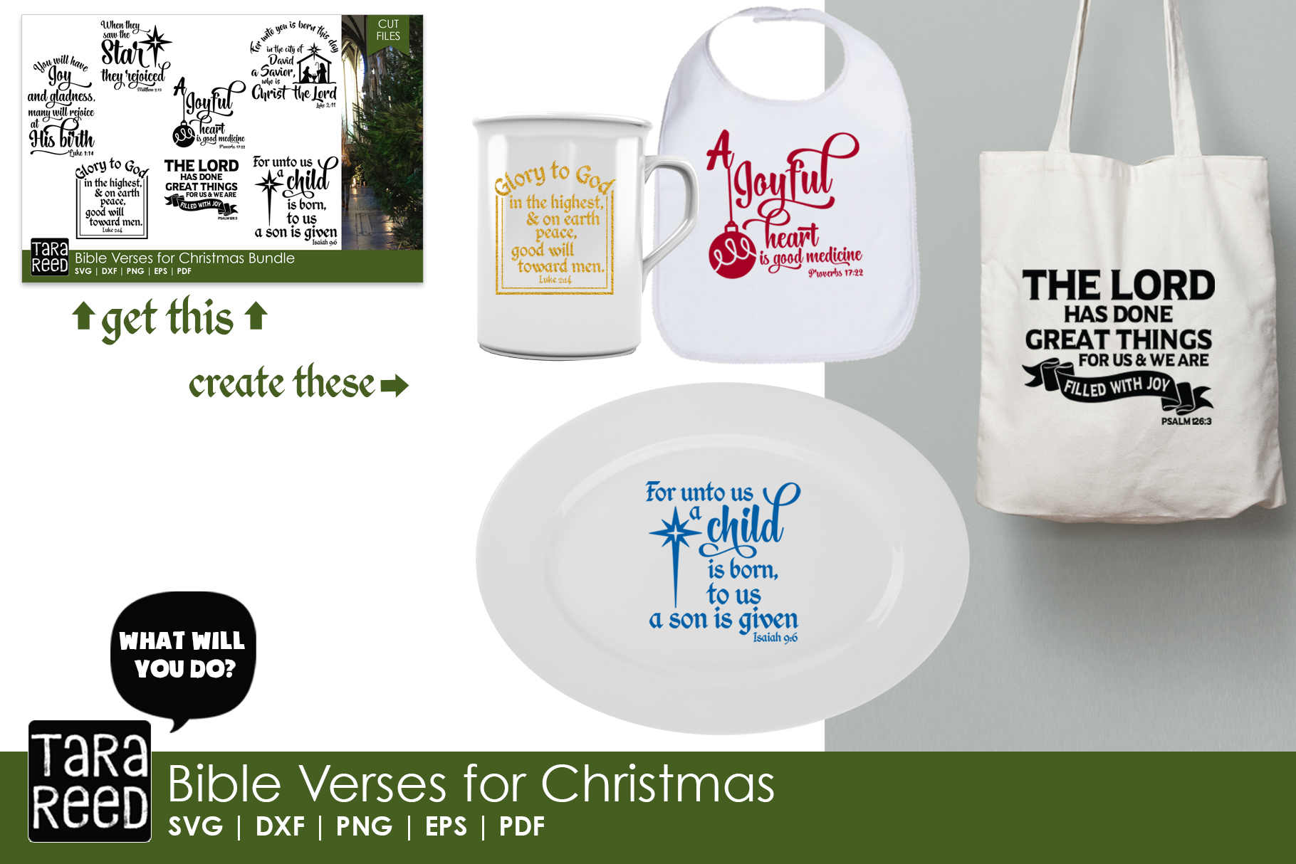 Christian Christmas MEGA Bundle - SVG Files for Crafters example image 8