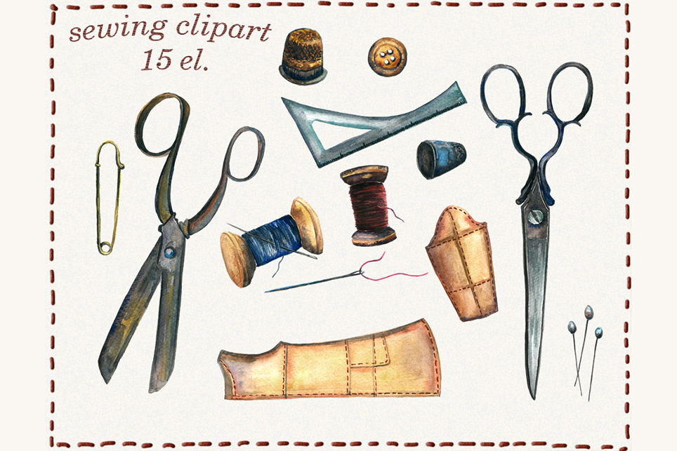Sewing clipart, sewing machine, watercolor sewing clipart, example image 2