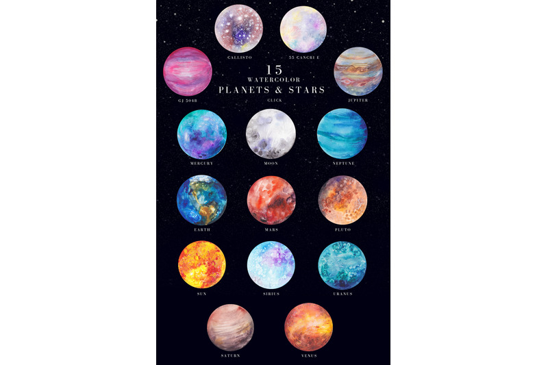 15 watercolor planets and stars set example image 1