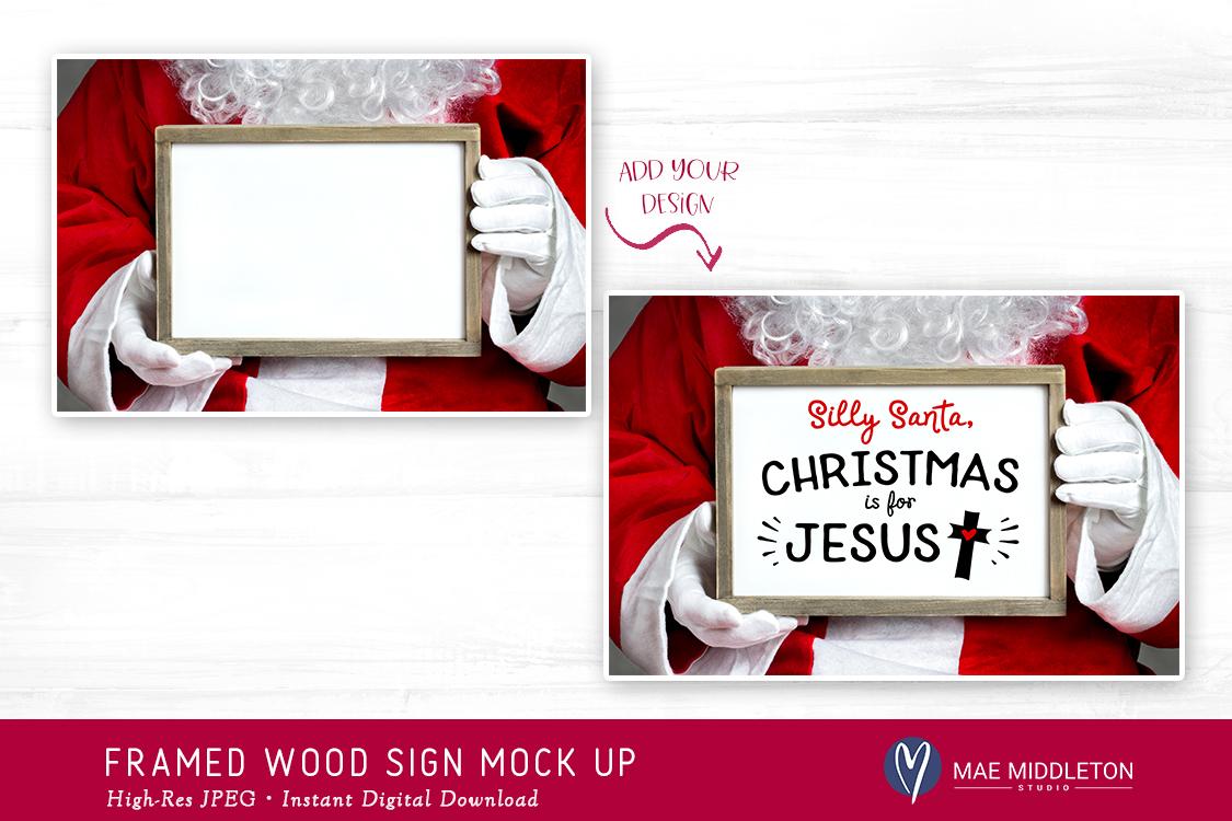 Christmas Mock up - Framed wood sign example image 3