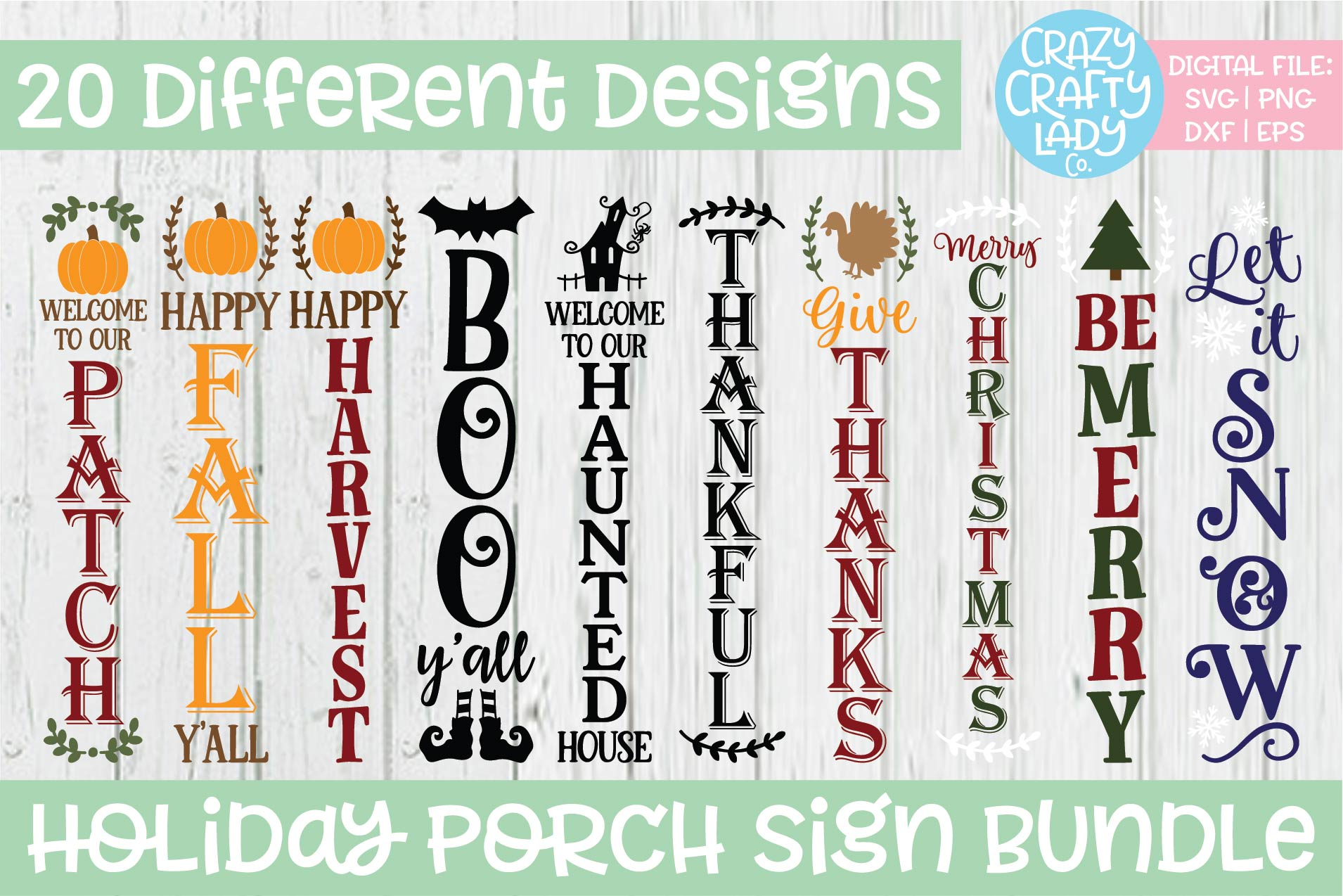 Holiday Porch Sign SVG DXF EPS PNG Cut File Bundle example image 2