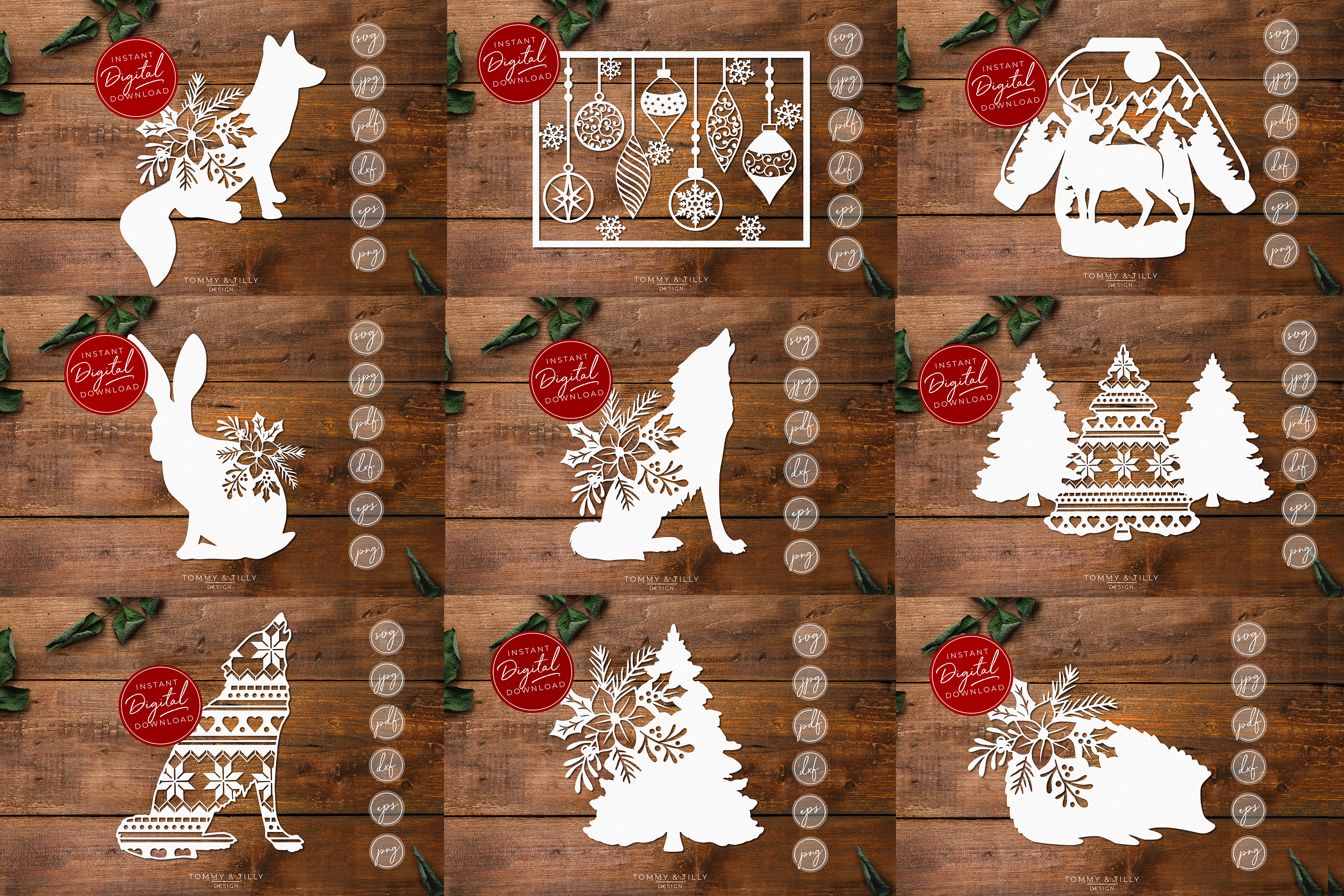 MEGA BUNDLE! 60 Christmas Cut Files - SVG | Papercut example image 4