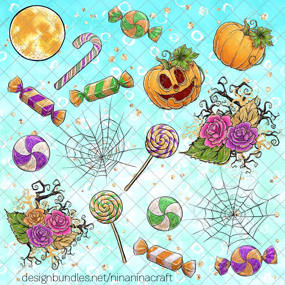 Cute Halloween Clipart, Bats Clip Art PNG Pack example image 5