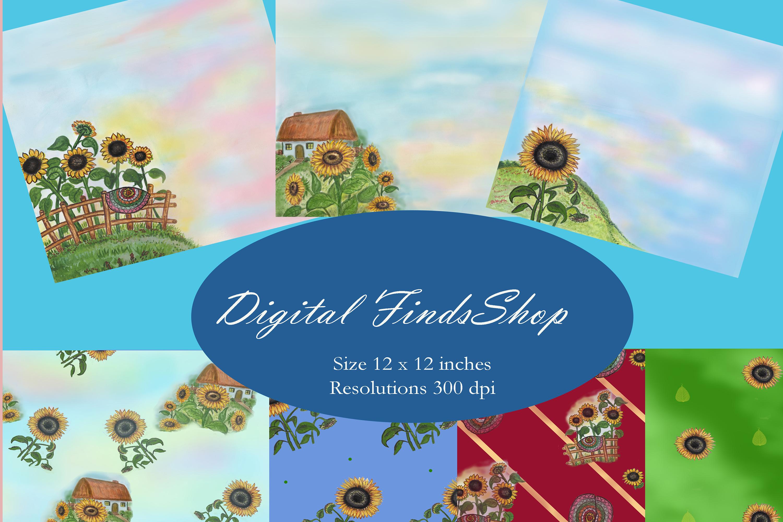 Sunflowers digital paper, set 7 pcs, rustic digital paper example image 1