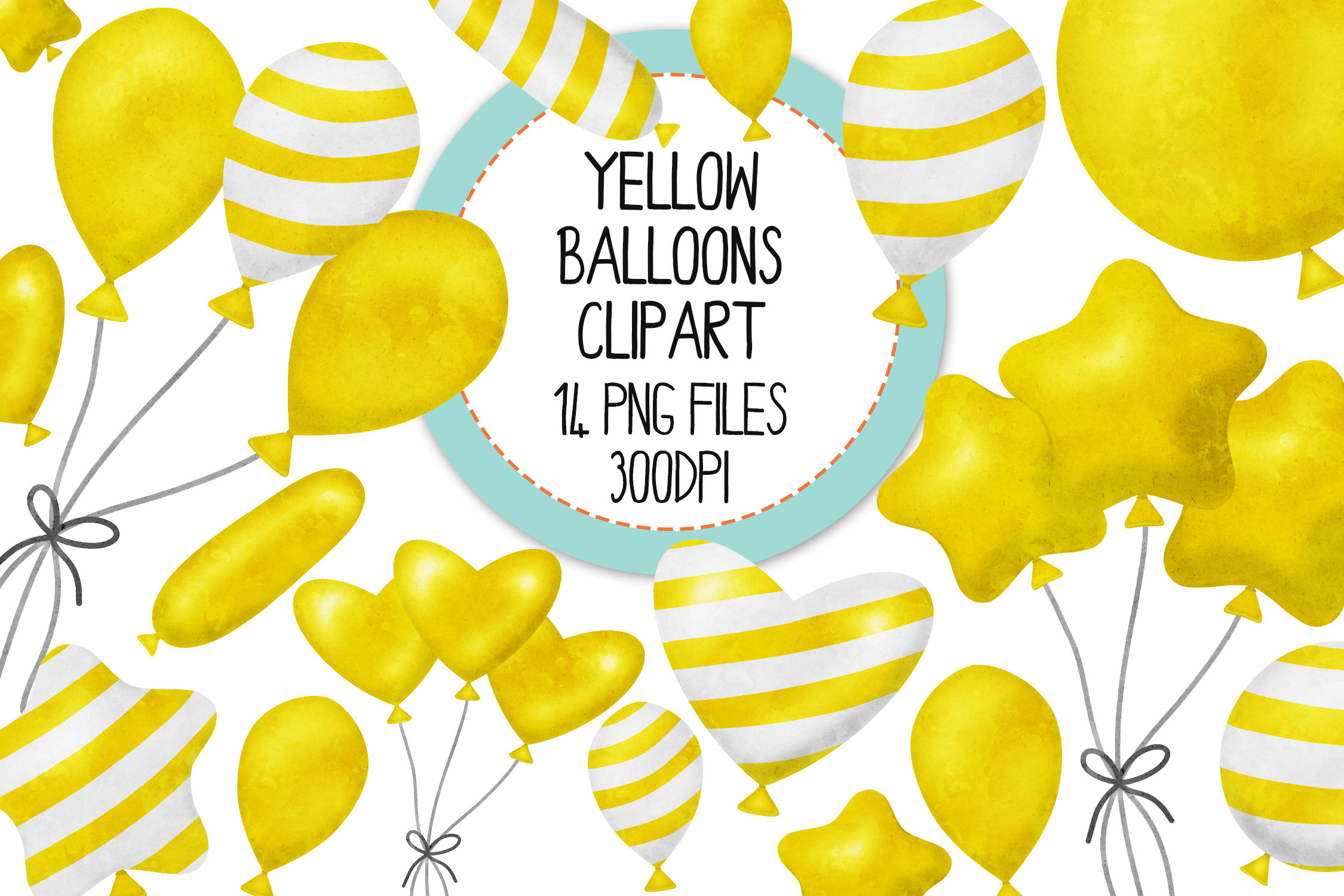 Yellow Watercolor Balloon Clipart Set example image 1