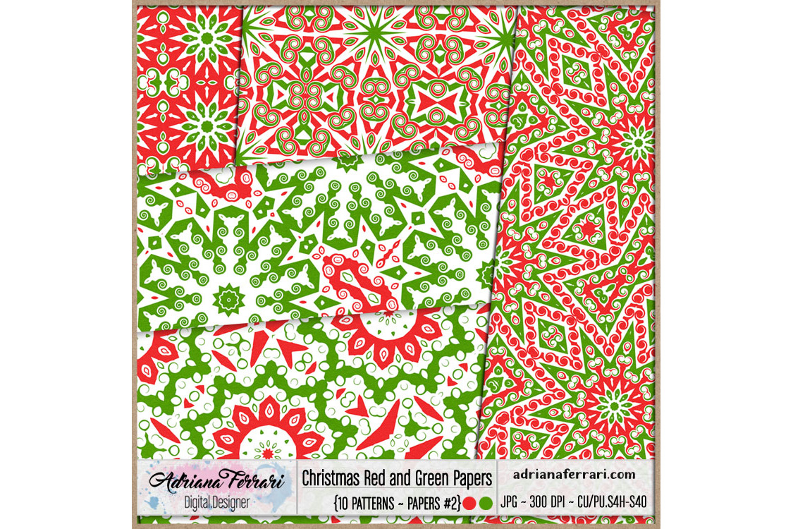 Christmas Red and Green Papers 2 example image 3