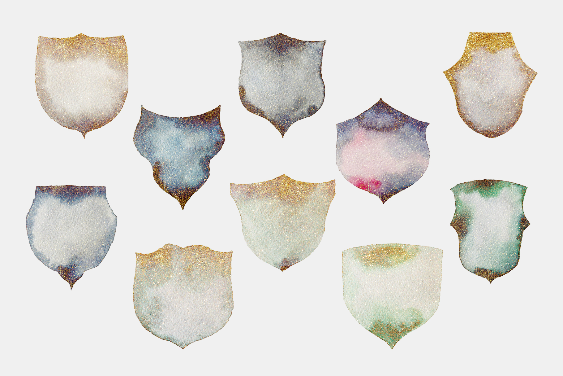 Gold glitter watercolor crests, hand painted green crests example image 4