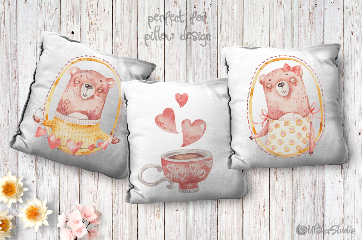 Cozy Valentines Day. Lovely bears watercolor collection example image 18