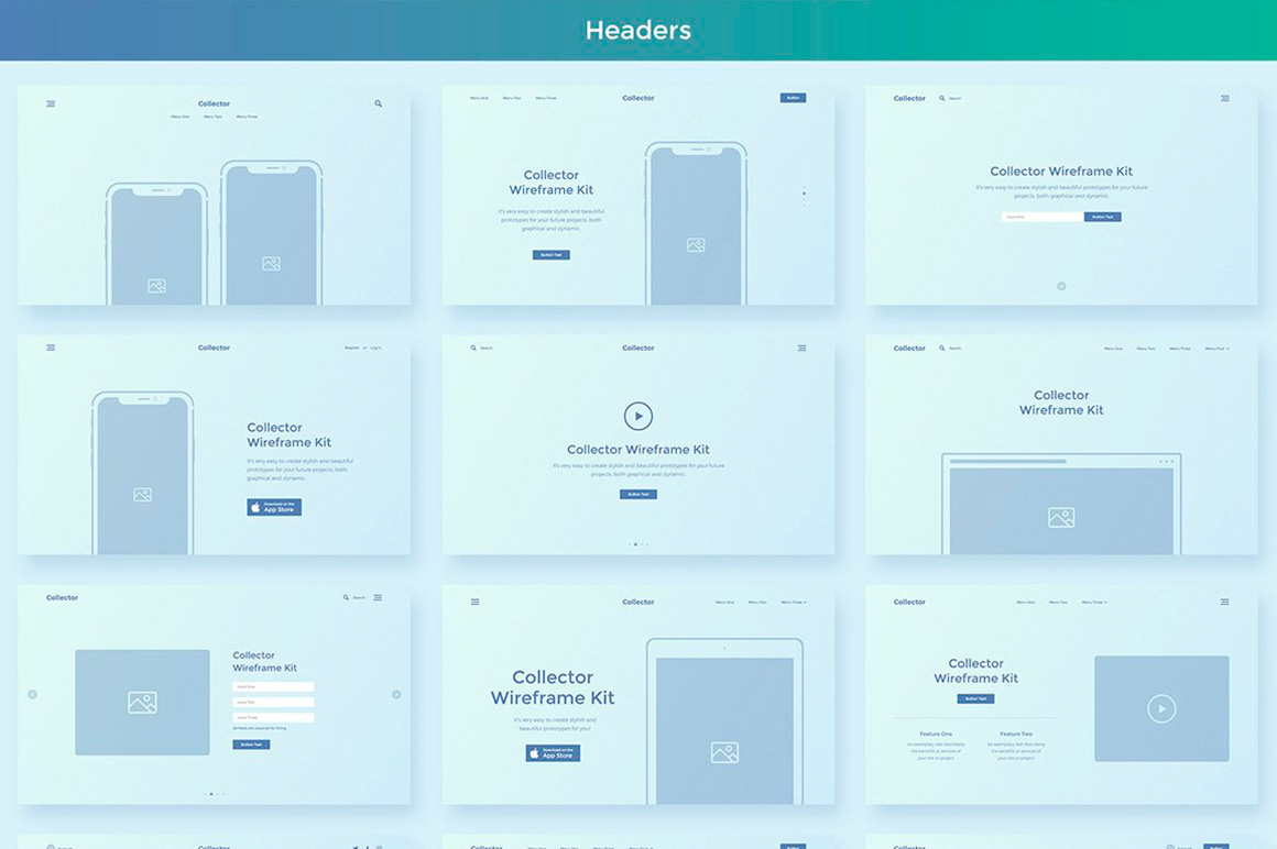 Collector Wireframe Web Kit example image 3