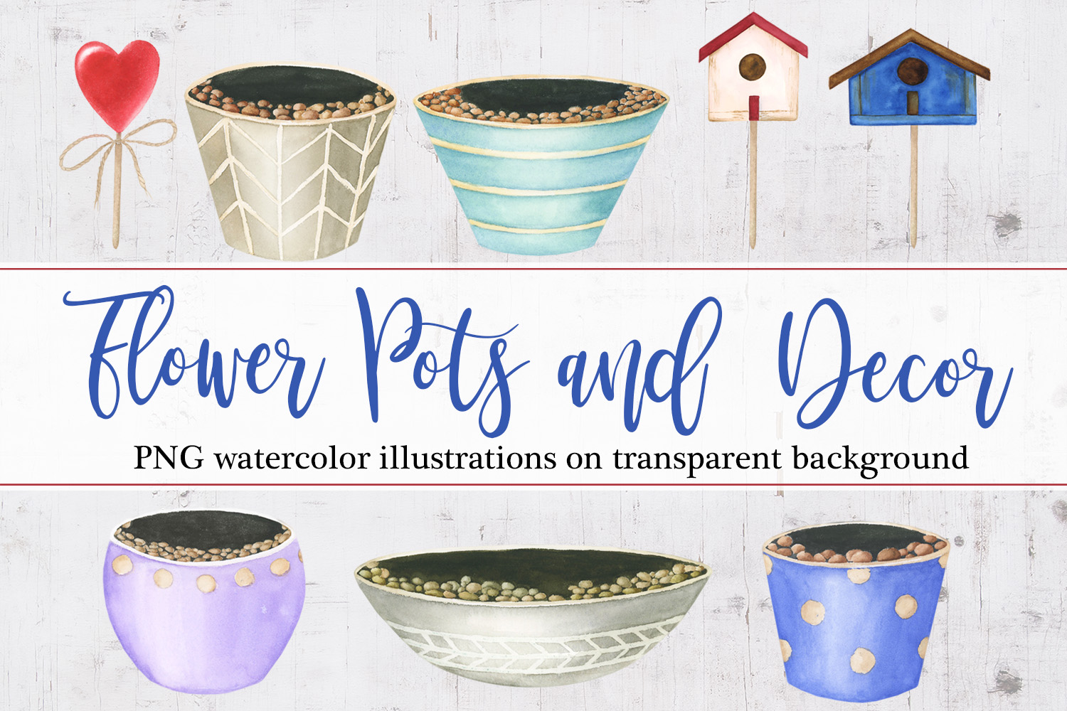 Watercolor Flower pots and decor example image 1