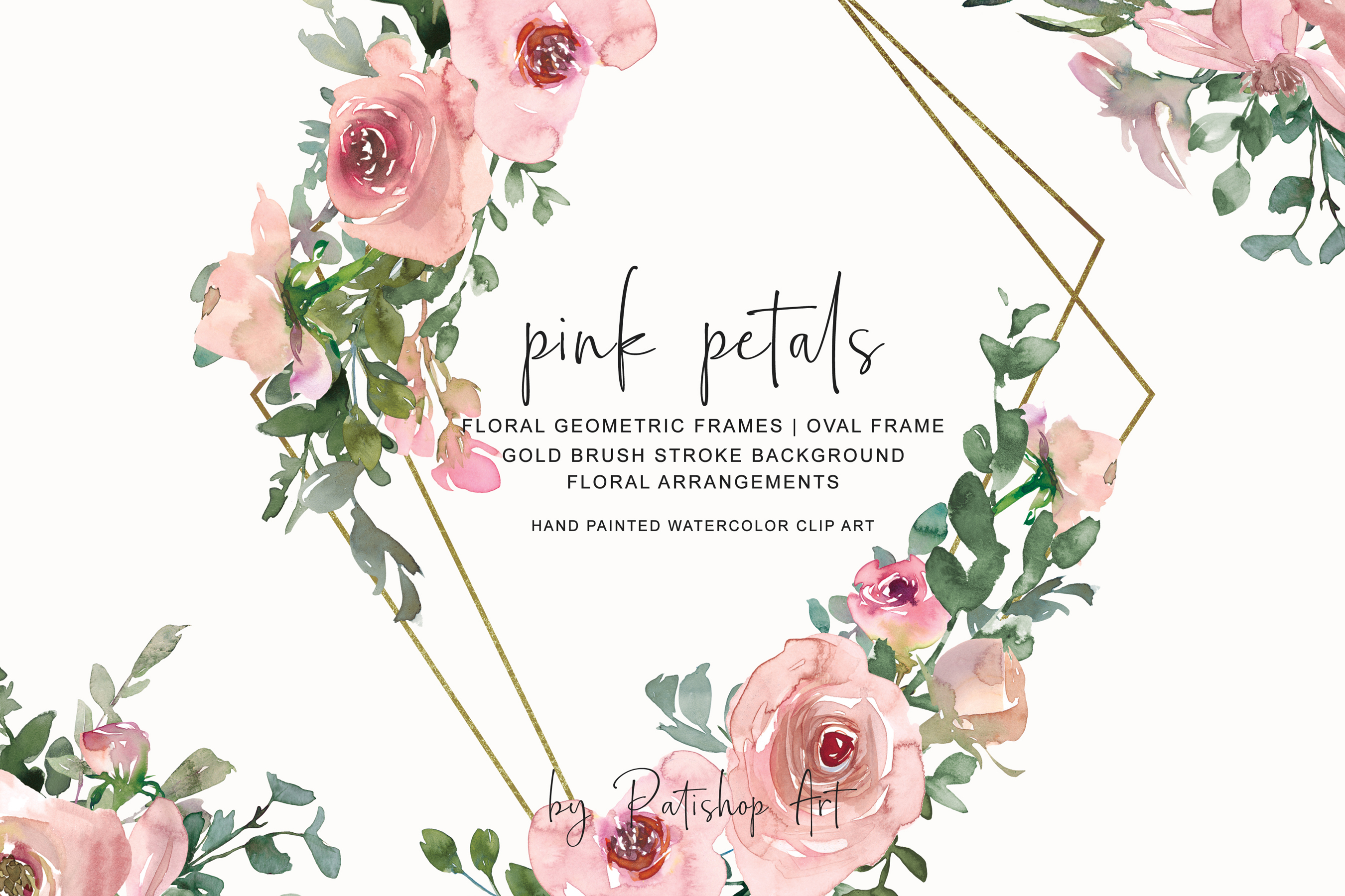 Watercolor Pink Gold Floral Frame Collection