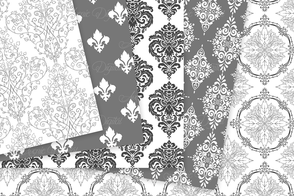 Black and White Damask Patterns - Seamless Digital Papers example image 4