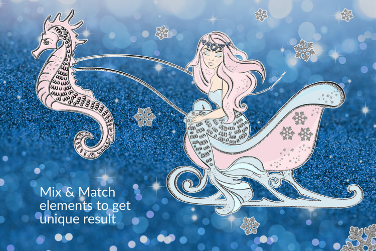 ICE MERMAID Glitter Christmas Illustration Set example image 6
