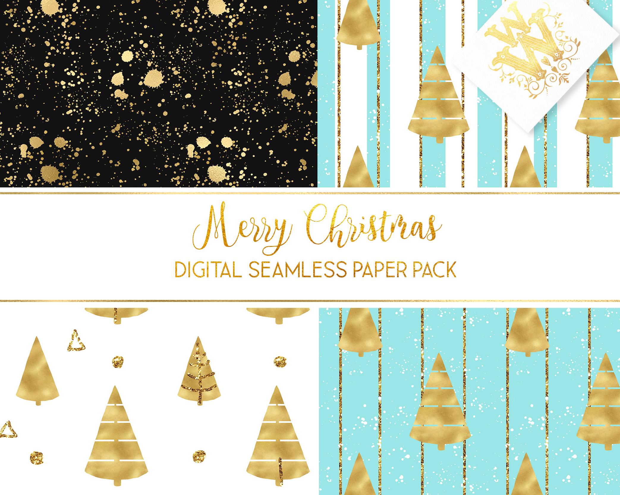 Christmas digital paper pack, seamless pattern snowflake example image 5