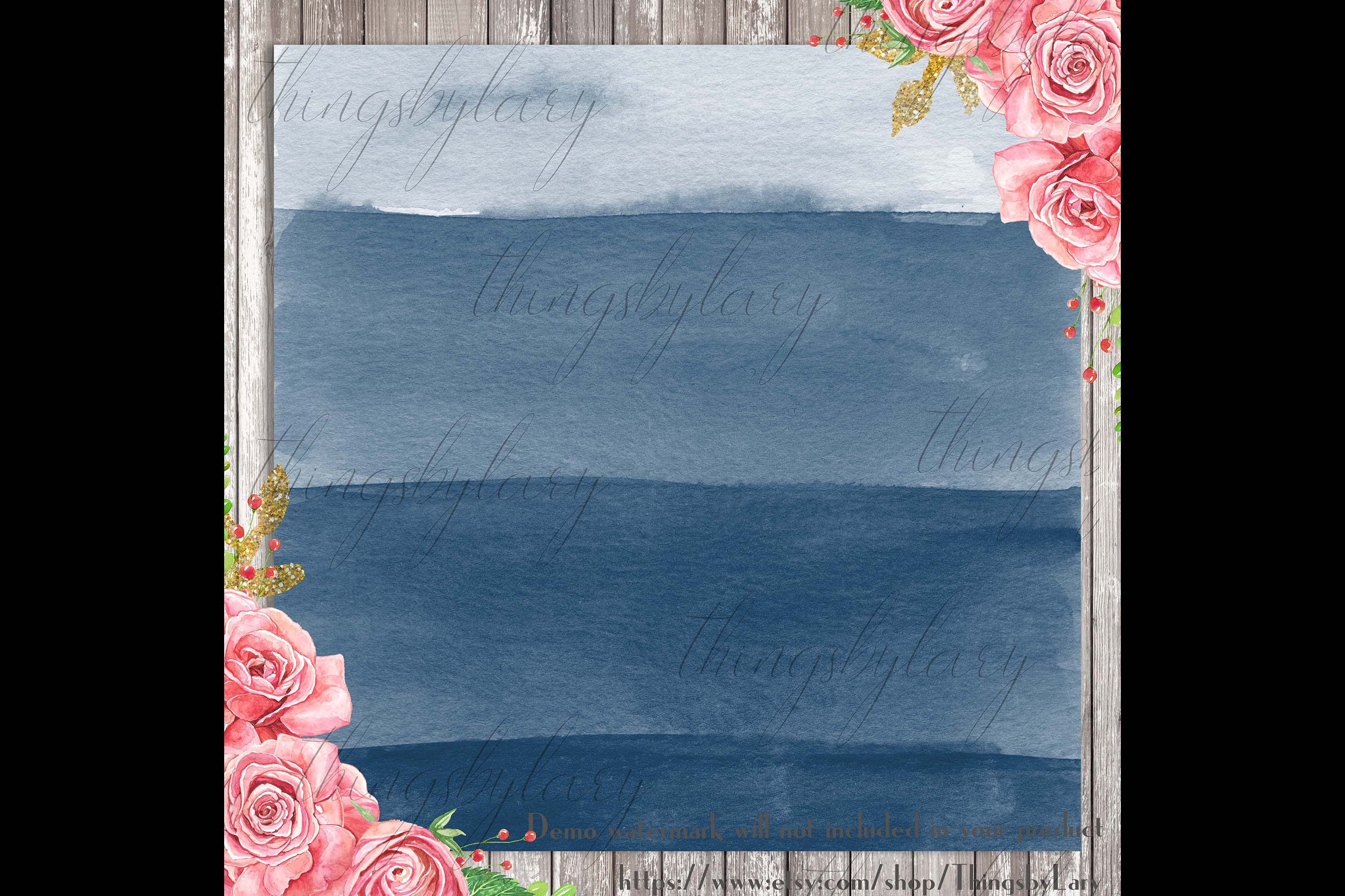 30 Ombre Sapphire & Flamingo Watercolor Digital Papers example image 2