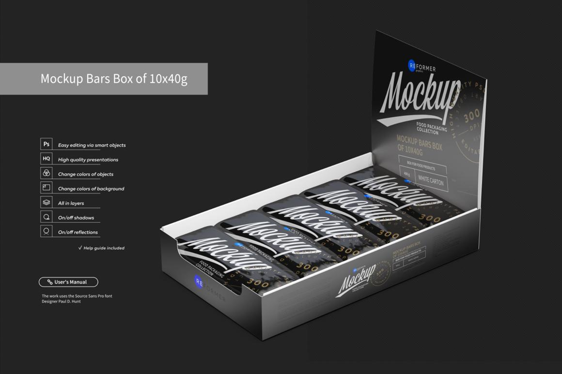 Mockup Bars Box of 10x40g example image 5