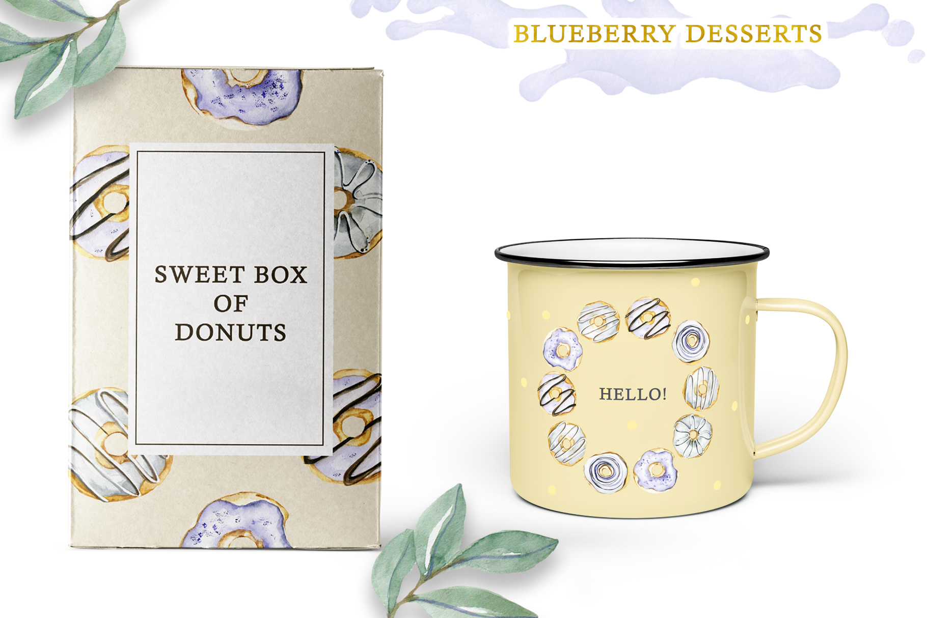 Watercolor collection of Blueberry Desserts example image 5