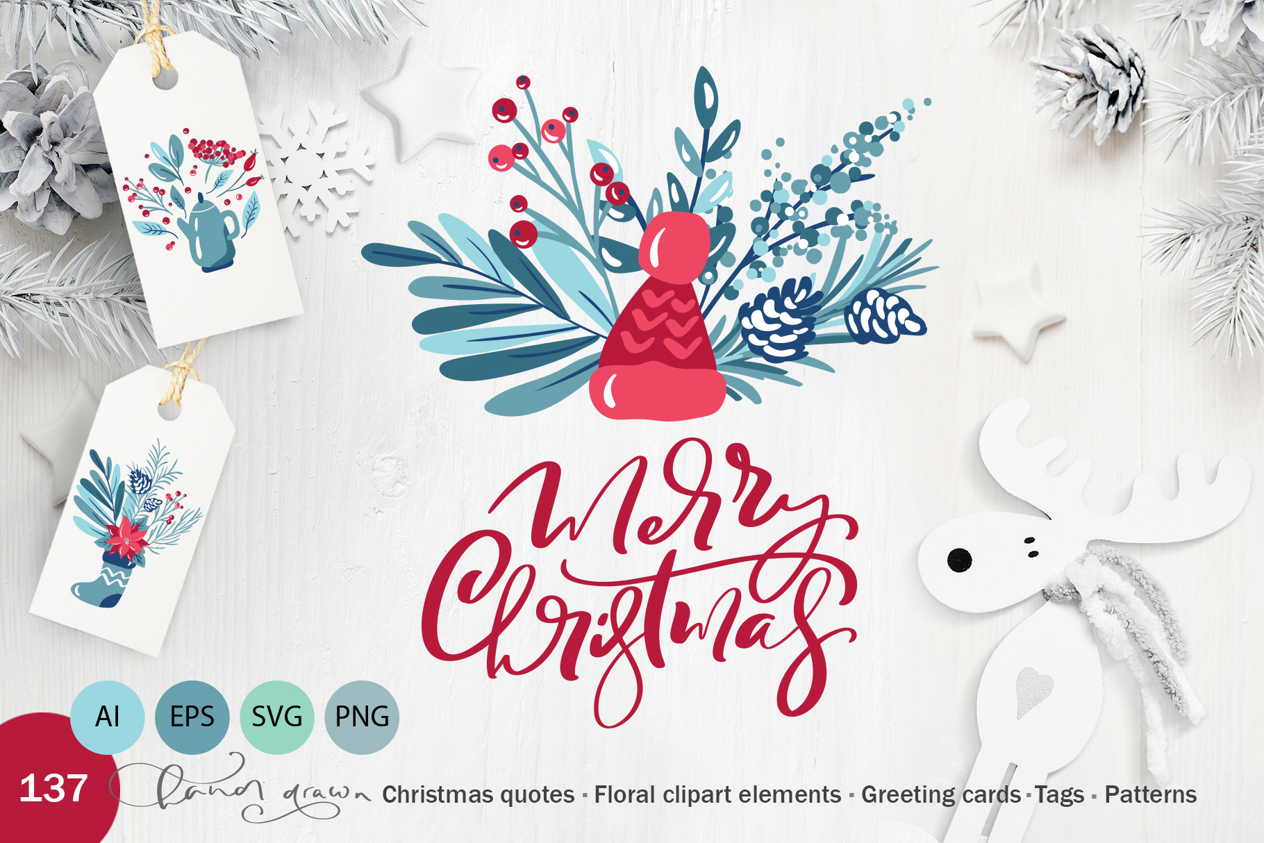 Christmas floral holiday elements example image 1
