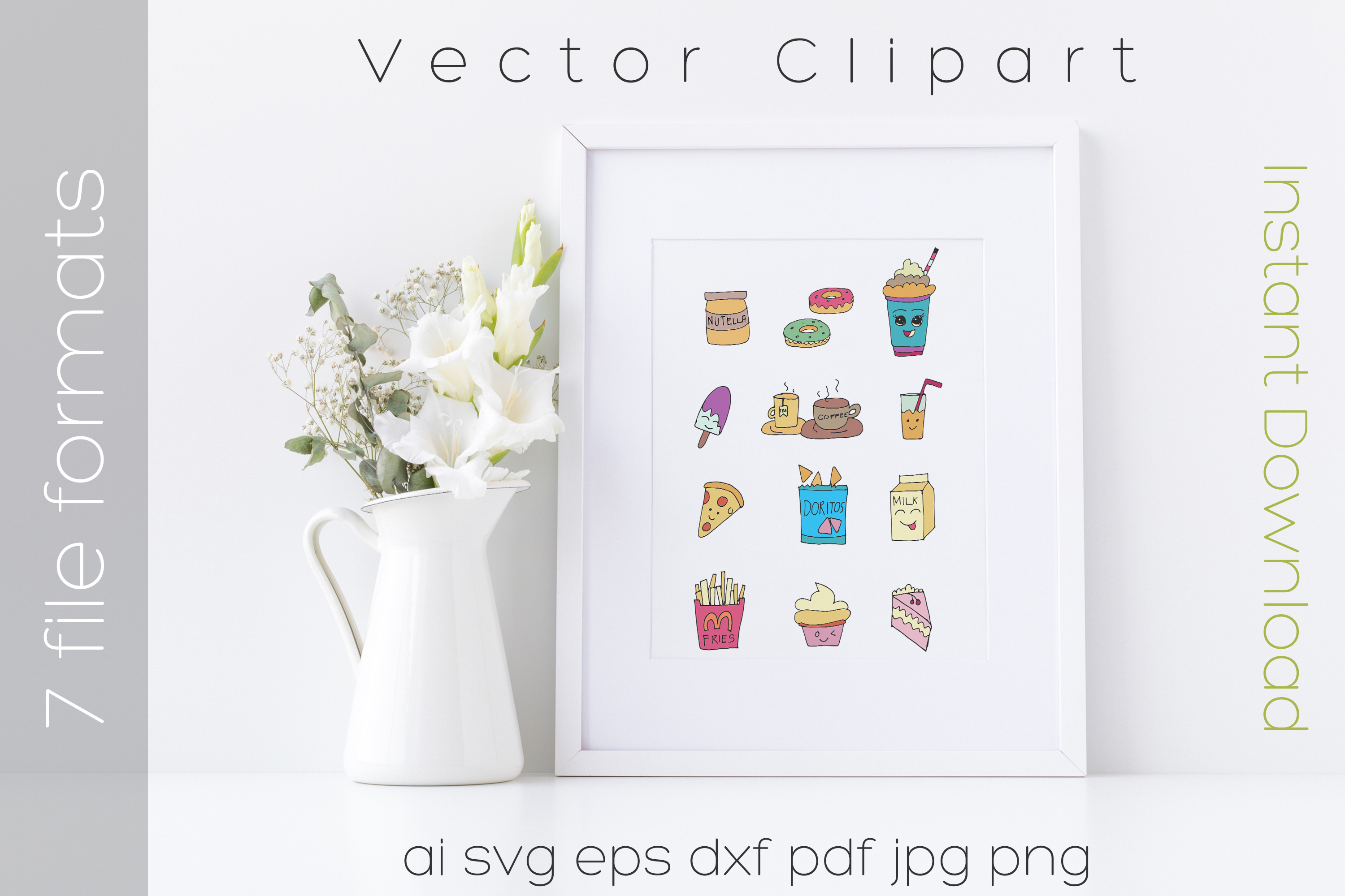 Food SVG Bundle Color Clipart Doodle Drawing Vector Cut File example image 5