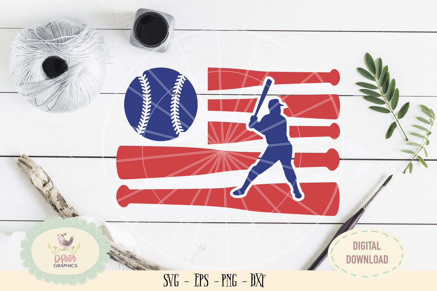 Baseball American flag of July SVG cut file, 4th of july example image 1
