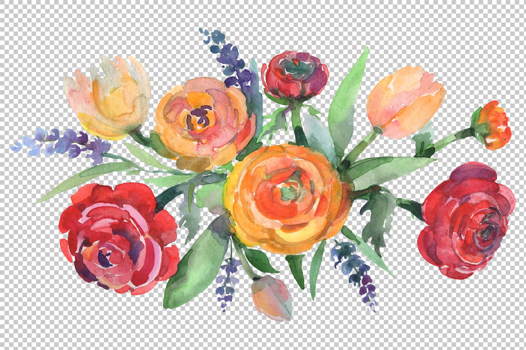 Bouquet floral waltz Watercolor png example image 2