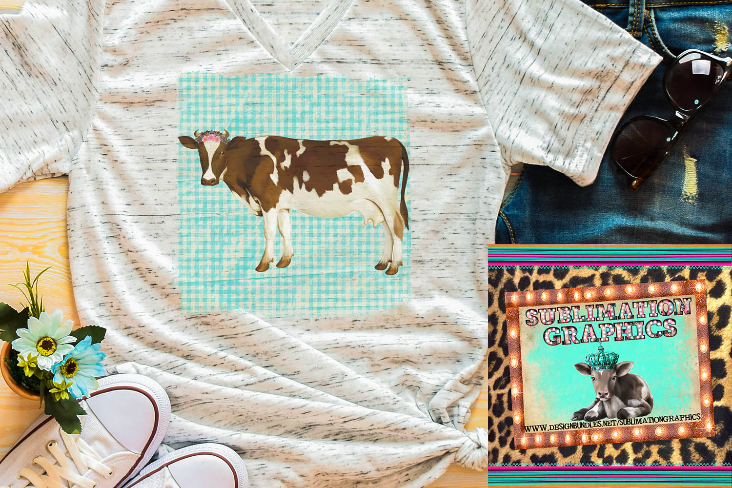 Cow With Tiara Sublimation Digital Download example image 1