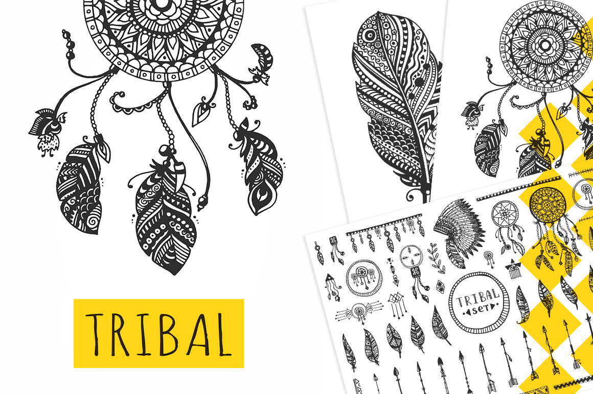 TRIBAL Vector Elements Collection example image 1