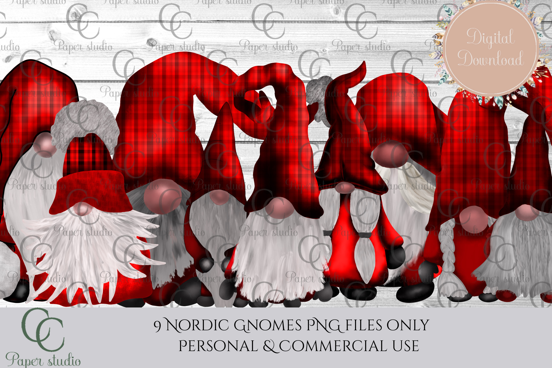 Scandinavian Tomte Gnomes - Christmas red tartan example image 1