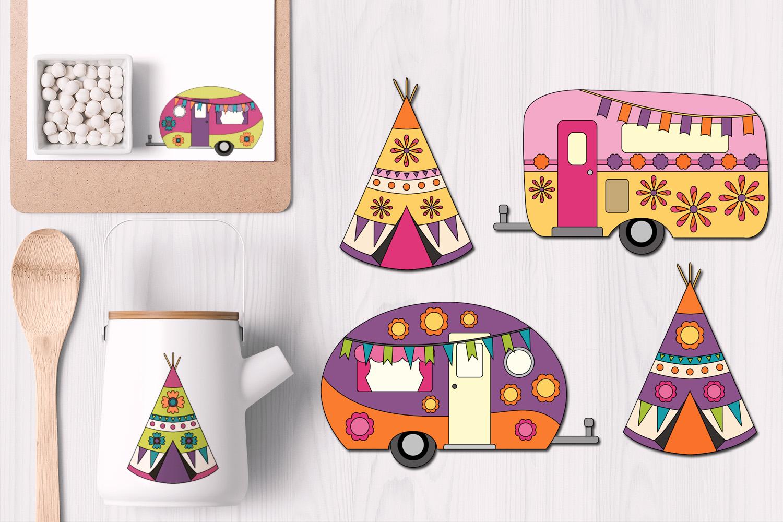 Happy camper Teepee Tent - Spring Caravan Graphics example image 1