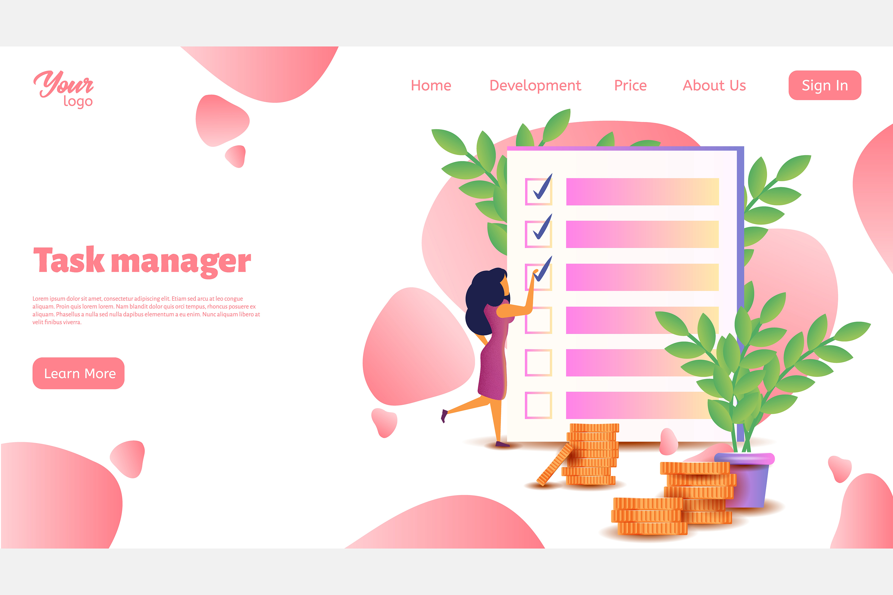 Time management. Landing page headers example image 4