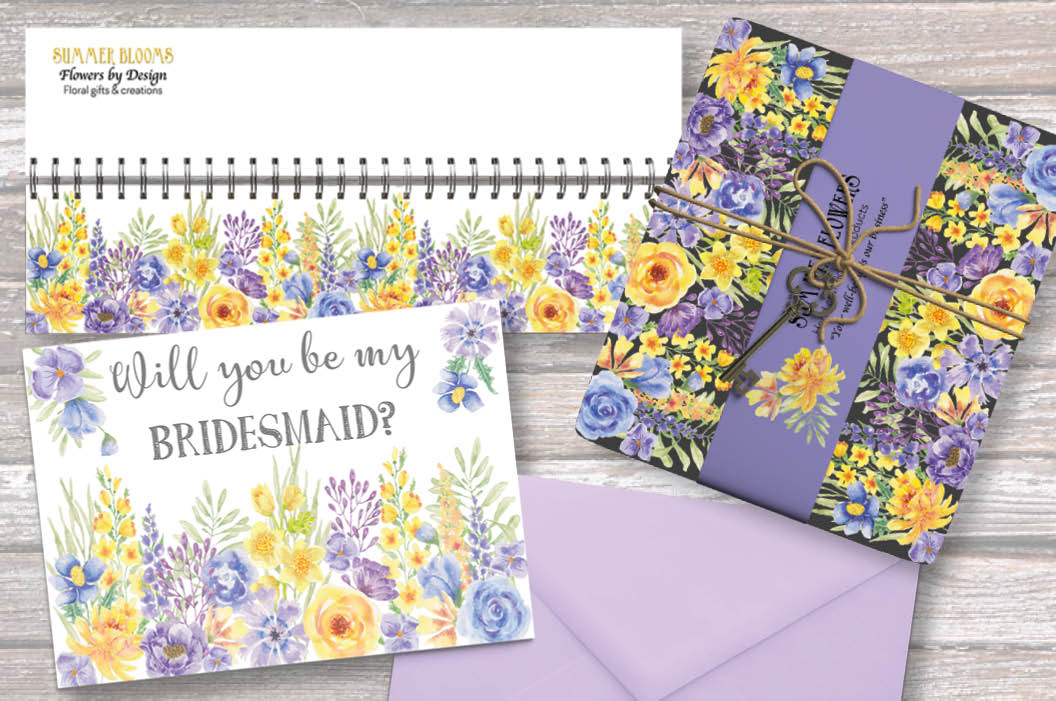 'Summer Flowers': border plus watercolor elements example image 5