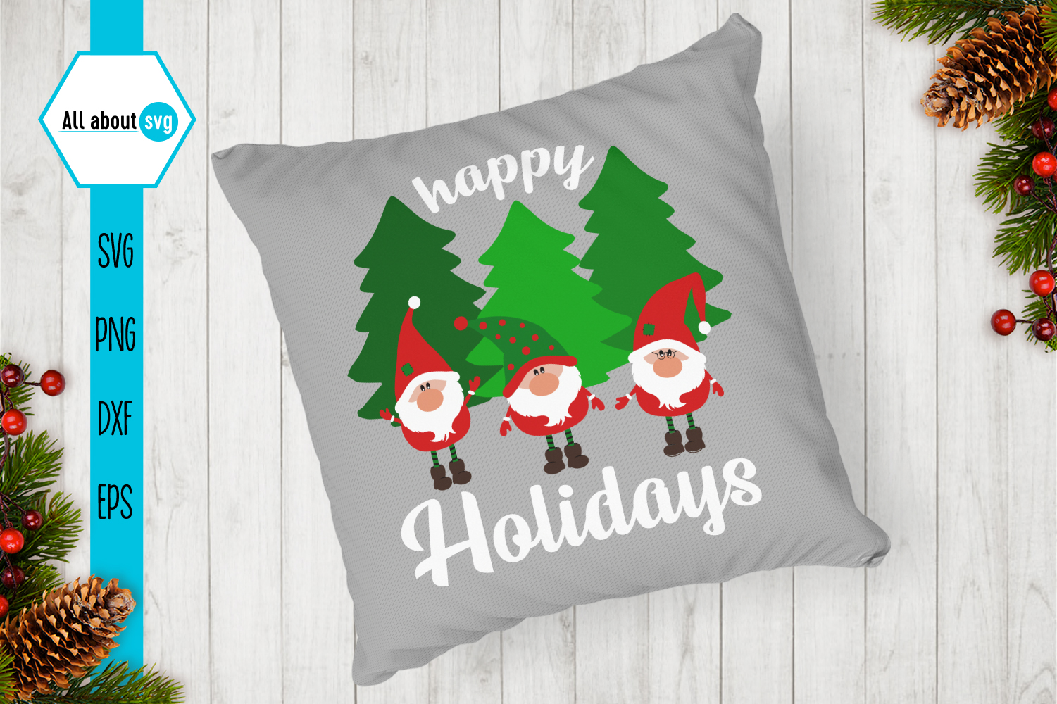 Happy Holidays Svg, Gnome Svg example image 4