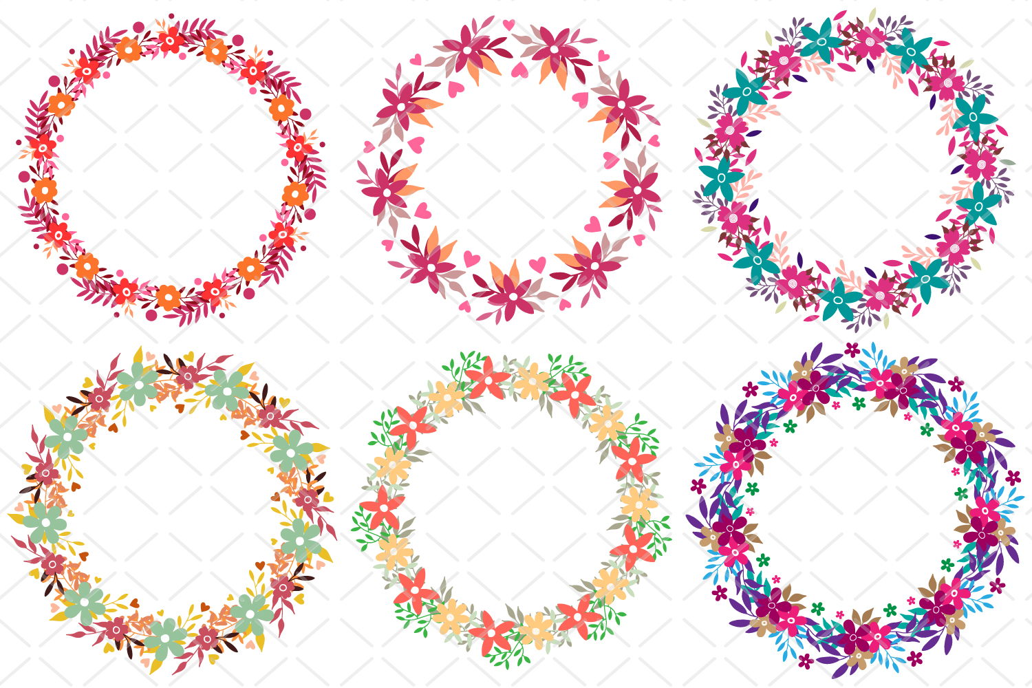 6 Round floral frames, circle laurel SVG, collection vector example image 2