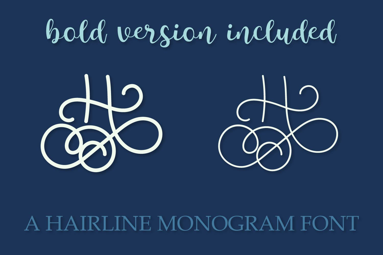 Hairline Monogram Font - Bold Version Included example image 2