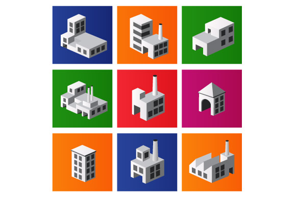 Vector industrial and city buildings example image 4