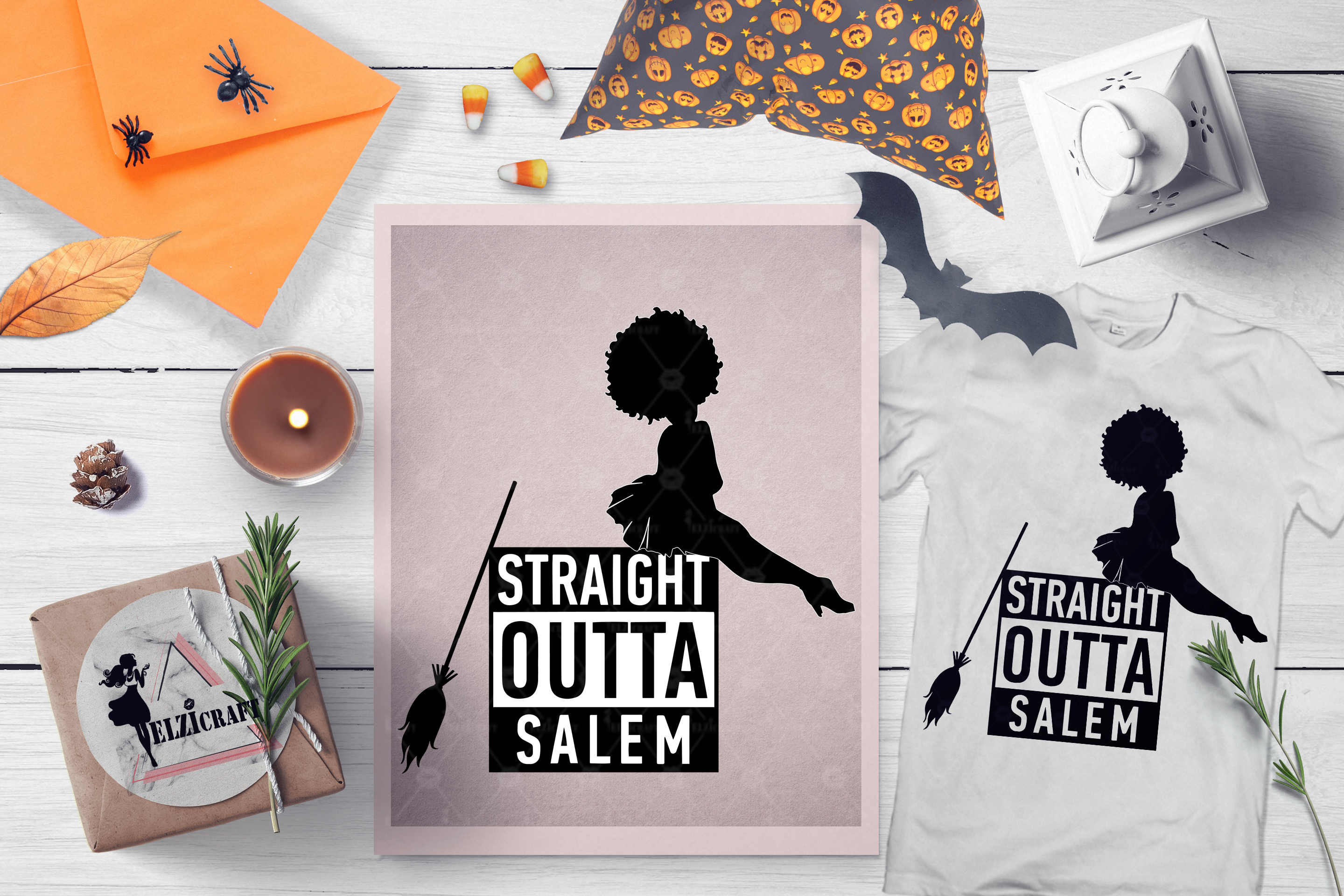 Halloween Straight Outta Salem Afro Woman Witch SVG Cut File example image 1