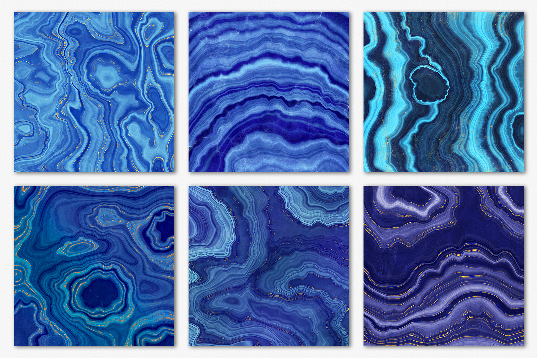 Blue & Gold Agate Geode Textures - 20 Digital Papers example image 17