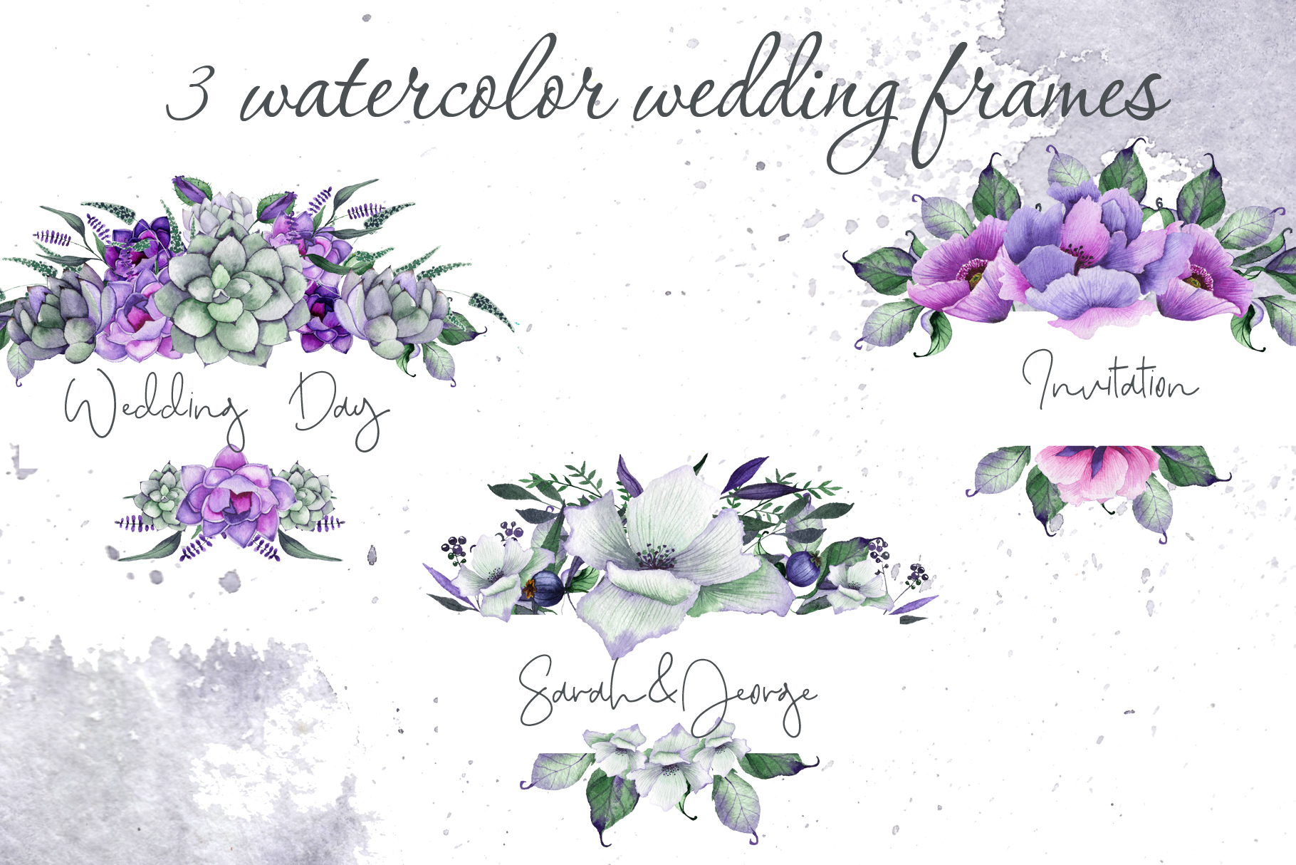 Floral purple green wedding collection example image 5