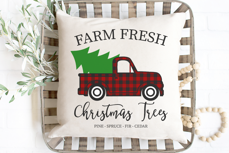 Farm Fresh Christmas Trees - Buffalo Plaid Vintage Truck SVG example image 1
