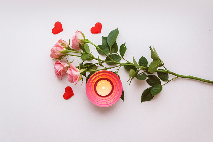 Valentine's day photo with roses and candle example image 1