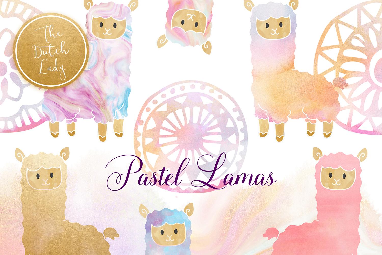 Pastel Lama & Alpaca Clipart Set example image 1