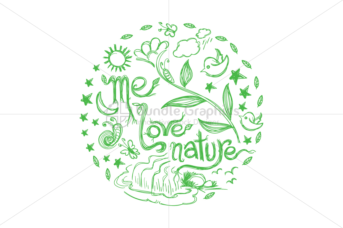 Me Love Nature - Scribble Textual Design Composition example image 1